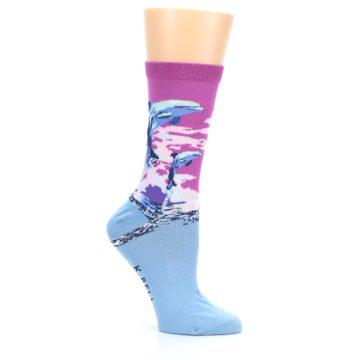 Image of Purple Blue Dolphins Women's Dress Socks (side-1-26)