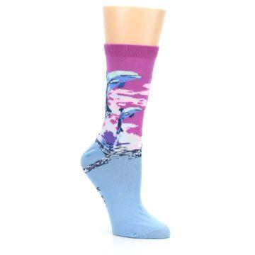 Image of Purple Blue Dolphins Women's Dress Socks (side-1-27)