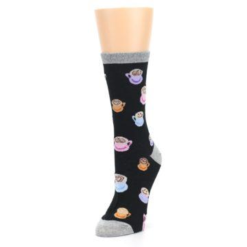 Image of Black Multi Color Coffee Art Women's Dress Socks (side-2-front-08)