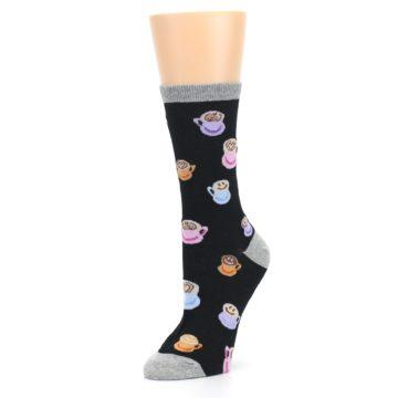 Image of Black Multi Color Coffee Art Women's Dress Socks (side-2-09)