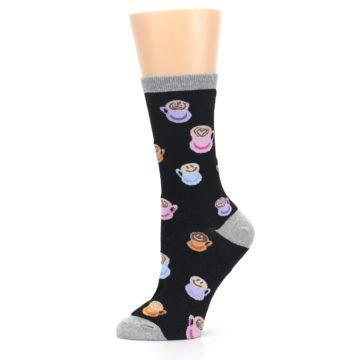 Image of Black Multi Color Coffee Art Women's Dress Socks (side-2-11)