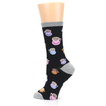 Image of Black Multi Color Coffee Art Women's Dress Socks (side-2-13)