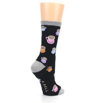 Image of Black Multi Color Coffee Art Women's Dress Socks (side-1-23)