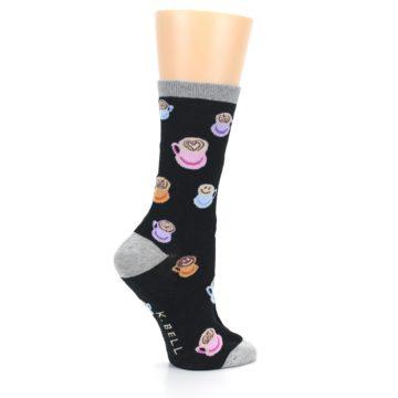 Image of Black Multi Color Coffee Art Women's Dress Socks (side-1-24)