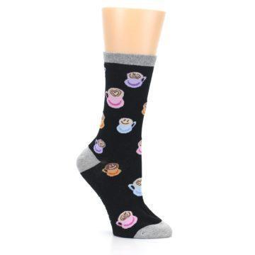 Image of Black Multi Color Coffee Art Women's Dress Socks (side-1-26)