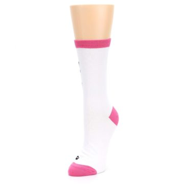 Image of White Pink Crazy Cat Lady Women's Dress Socks (side-2-front-08)