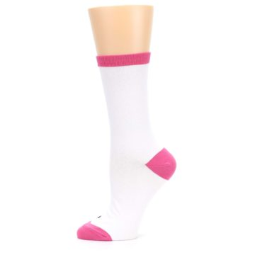 Image of White Pink Crazy Cat Lady Women's Dress Socks (side-2-11)