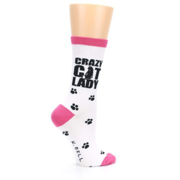Image of White Pink Crazy Cat Lady Women's Dress Socks (side-1-24)
