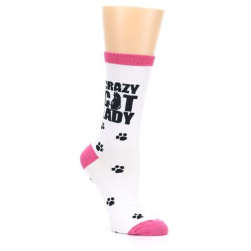 Image of White Pink Crazy Cat Lady Women's Dress Socks (side-1-27)