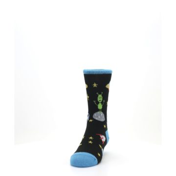 Image of Black Outer Space Kid's Dress Socks (side-2-front-06)