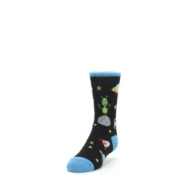 Image of Black Outer Space Kid's Dress Socks (side-2-front-07)