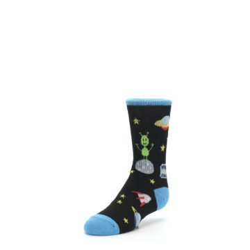 Image of Black Outer Space Kid's Dress Socks (side-2-front-08)