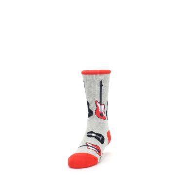 Image of Gray Red Black Guitars Kid's Dress Socks (side-2-front-06)