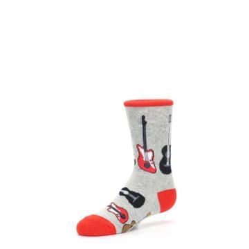 Image of Gray Red Black Guitars Kid's Dress Socks (side-2-09)