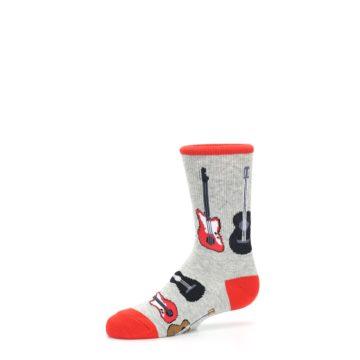 Image of Gray Red Black Guitars Kid's Dress Socks (side-2-10)