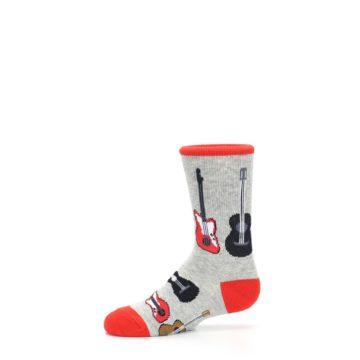 Image of Gray Red Black Guitars Kid's Dress Socks (side-2-11)