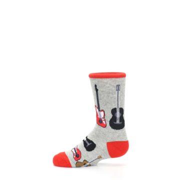 Image of Gray Red Black Guitars Kid's Dress Socks (side-2-12)