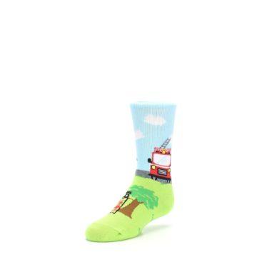 Image of Cat Rescue Fireman Kid's Dress Socks (side-2-front-08)