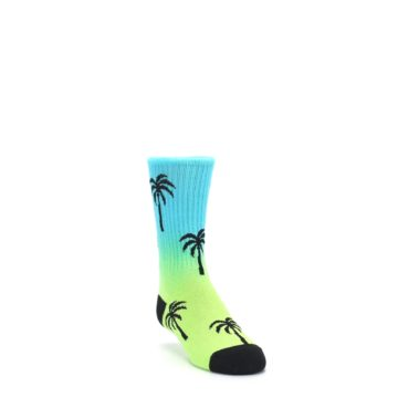 Image of Green Blue Palm Trees Kid's Dress Socks (side-1-front-02)