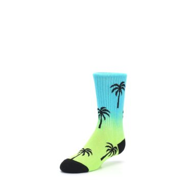 Image of Green Blue Palm Trees Kid's Dress Socks (side-2-front-08)