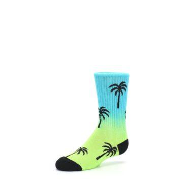 Image of Green Blue Palm Trees Kid's Dress Socks (side-2-09)