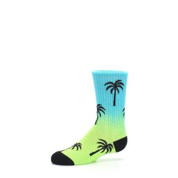 Image of Green Blue Palm Trees Kid's Dress Socks (side-2-10)