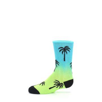 Image of Green Blue Palm Trees Kid's Dress Socks (side-2-11)