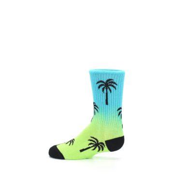 Image of Green Blue Palm Trees Kid's Dress Socks (side-2-12)