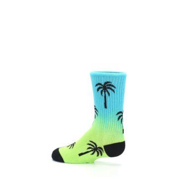 Image of Green Blue Palm Trees Kid's Dress Socks (side-2-13)