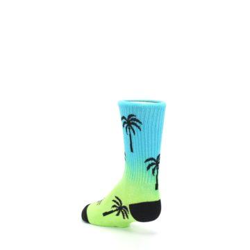 Image of Green Blue Palm Trees Kid's Dress Socks (side-2-back-15)