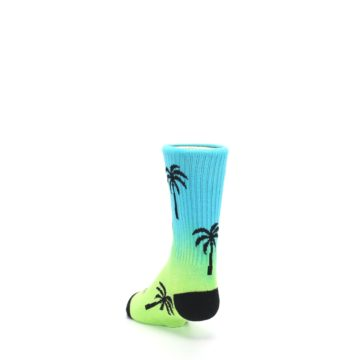 Image of Green Blue Palm Trees Kid's Dress Socks (side-2-back-16)