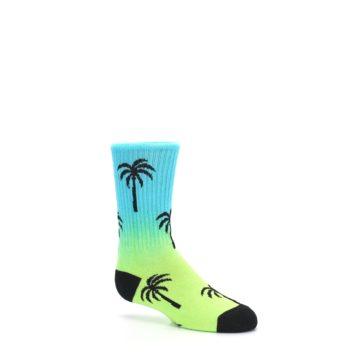 Image of Green Blue Palm Trees Kid's Dress Socks (side-1-26)