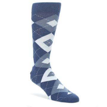 Steel-Blue-Navy-Argyle-Mens-Dress-Socks-Statement-Sockwear