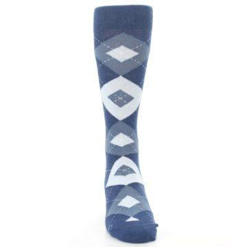 Image of Steel Blue Navy Argyle Men's Dress Socks (front-04)