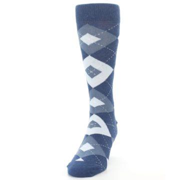 Image of Steel Blue Navy Argyle Men's Dress Socks (side-2-front-06)