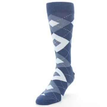 Image of Steel Blue Navy Argyle Men's Dress Socks (side-2-front-07)
