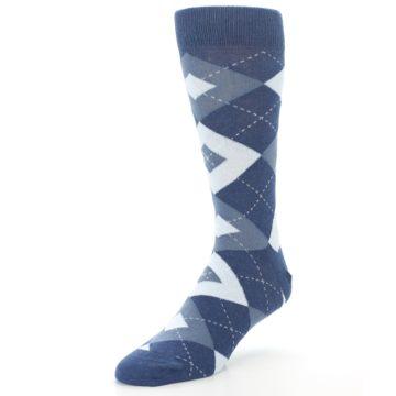 Image of Steel Blue Navy Argyle Men's Dress Socks (side-2-front-08)