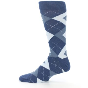 Image of Steel Blue Navy Argyle Men's Dress Socks (side-2-12)
