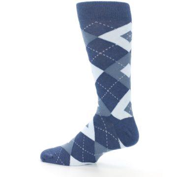 Image of Steel Blue Navy Argyle Men's Dress Socks (side-2-13)