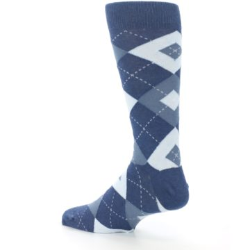 Image of Steel Blue Navy Argyle Men's Dress Socks (side-2-back-14)