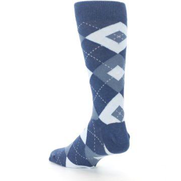 Image of Steel Blue Navy Argyle Men's Dress Socks (side-2-back-15)