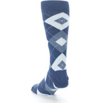 Image of Steel Blue Navy Argyle Men's Dress Socks (side-2-back-16)