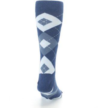 Image of Steel Blue Navy Argyle Men's Dress Socks (back-19)