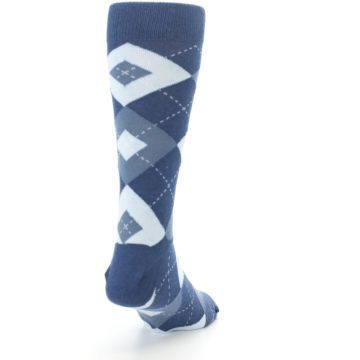 Image of Steel Blue Navy Argyle Men's Dress Socks (side-1-back-20)