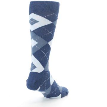 Image of Steel Blue Navy Argyle Men's Dress Socks (side-1-back-21)