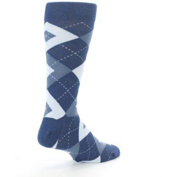 Image of Steel Blue Navy Argyle Men's Dress Socks (side-1-back-22)
