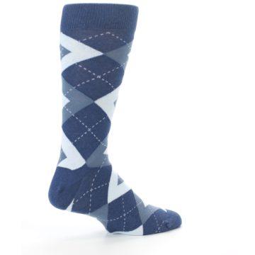 Image of Steel Blue Navy Argyle Men's Dress Socks (side-1-23)