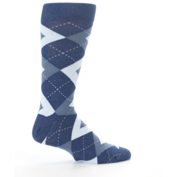 Image of Steel Blue Navy Argyle Men's Dress Socks (side-1-24)