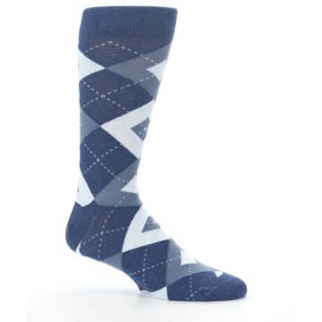 Image of Steel Blue Navy Argyle Men's Dress Socks (side-1-25)