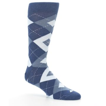 Image of Steel Blue Navy Argyle Men's Dress Socks (side-1-26)
